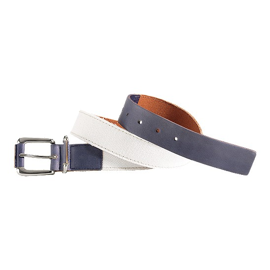 Cole Haan Port Clyde Belt Natural Canvas/Navy Outlet Coupons