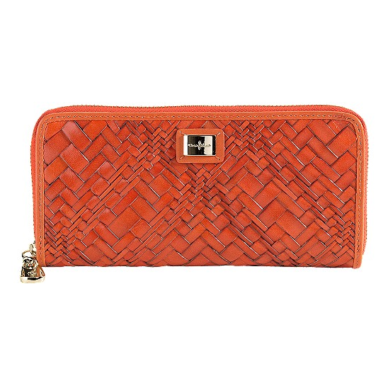 Cole Haan Optical Weave Travel Zip Wallet Spicy Orange Outlet Coupons