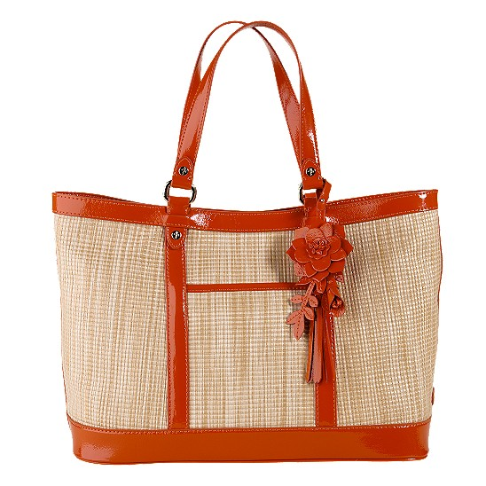 Cole Haan Jitney Straw Serena Small Tote Natural/Spicy Orange Patent Outlet Coupons
