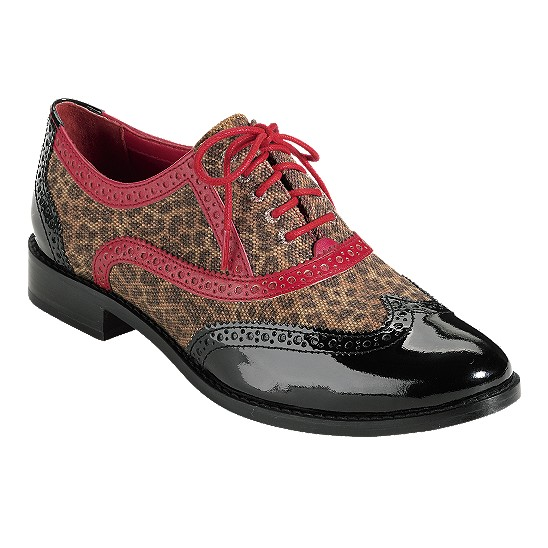 Cole Haan Skylar Oxford Black Patent/Leopard Print Canvas/Tango Red Outlet Coupons