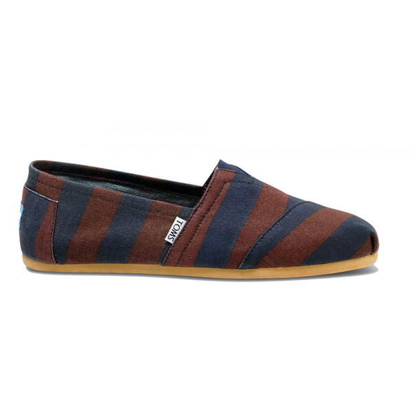 Toms Burgundy Denim Stripe Men Classics Outlet Coupons