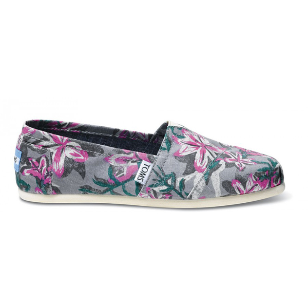 Toms Grey Floral Vegan Women Classics Outlet Coupons