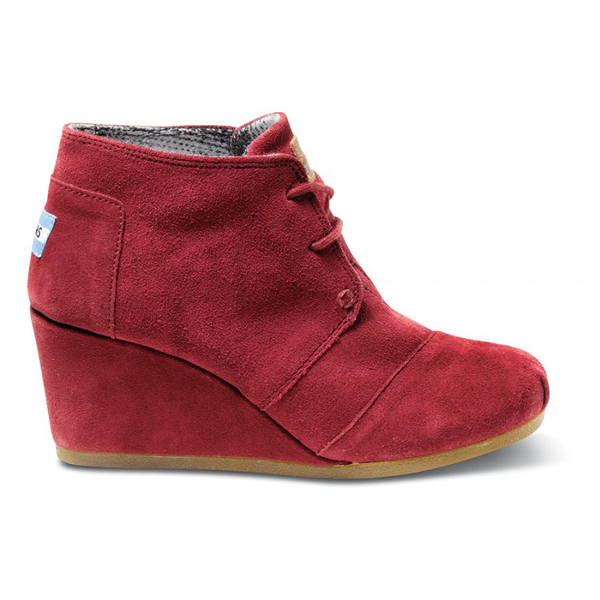 Toms Burgundy Suede Women Desert Wedges Outlet Coupons