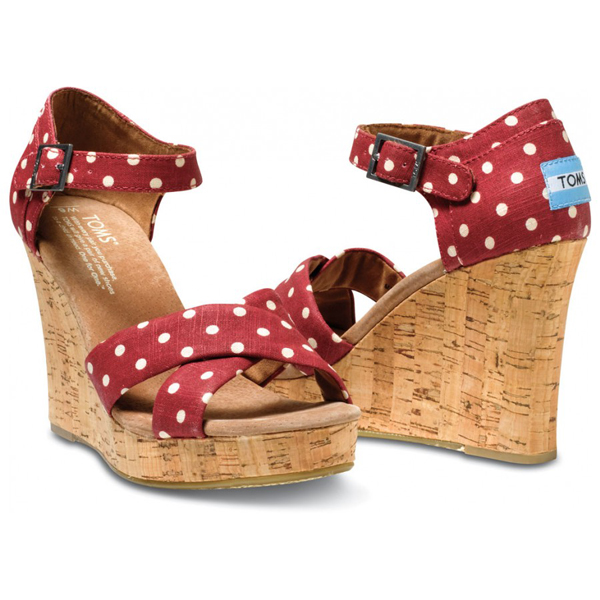 Toms Red Polka Dot Linen Women Strappy Wedges Outlet Coupons