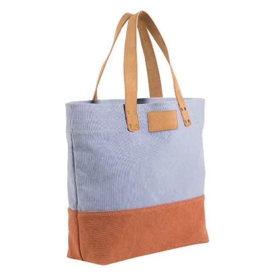 Cole Haan Kittery Point Tote Ashley Blue/Brunt Orange Canvas/Buff Outlet Coupons