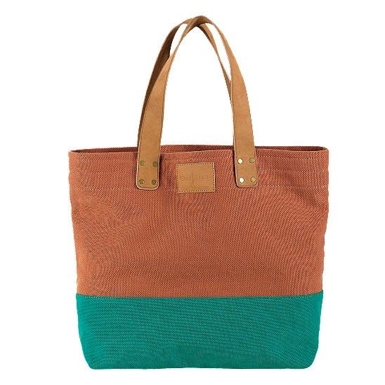 Cole Haan Kittery Point Tote Burnt Orange/Teal Canvas Outlet Coupons