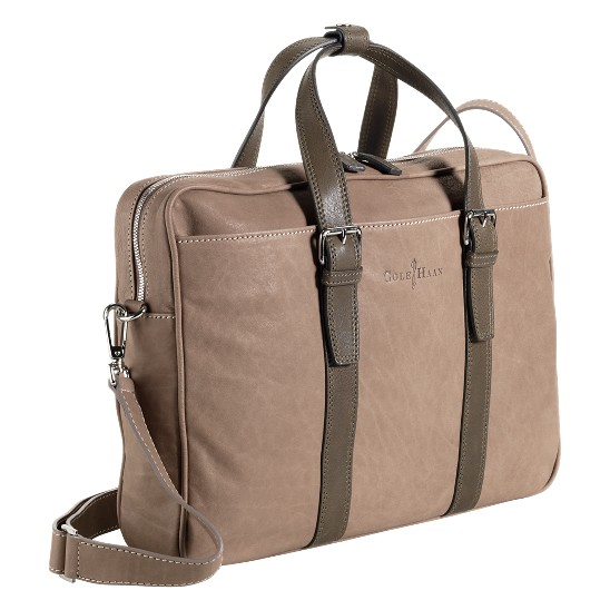 Cole Haan Trovato Zip Top Brief Taupe/Olive Outlet Coupons
