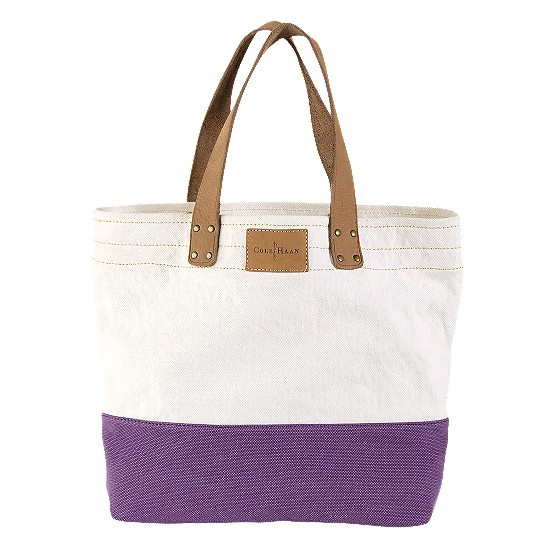 Cole Haan Kittery Point Tote Natural/Mulberry Canvas Outlet Coupons