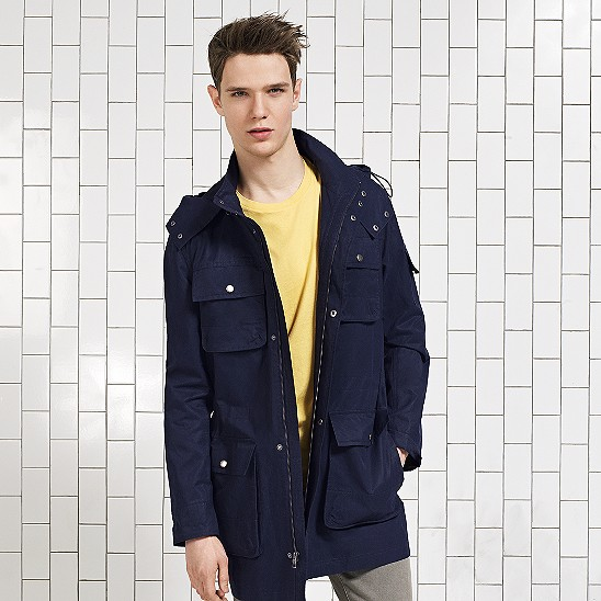 Cole Haan Waxed Cotton Hooded Jacket Navy Outlet Coupons