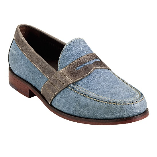 Cole Haan Air Monroe Penny Ashley Blue Suede/Taupe Outlet Coupons