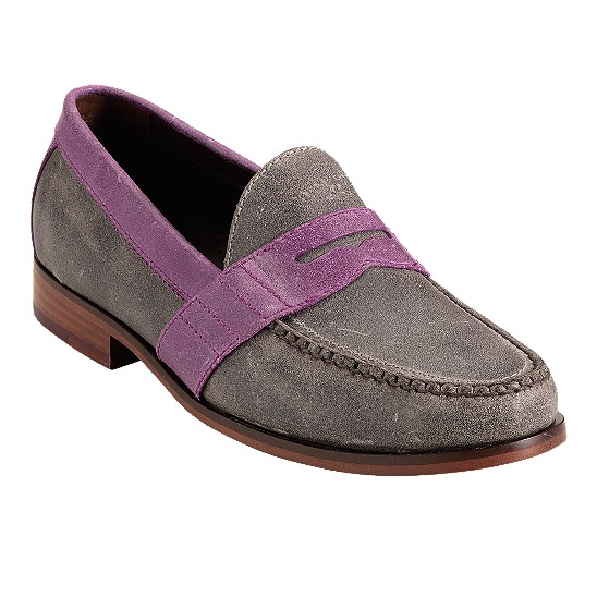 Cole Haan Air Monroe Penny Smoke Suede/Hibiscus Suede Outlet Coupons