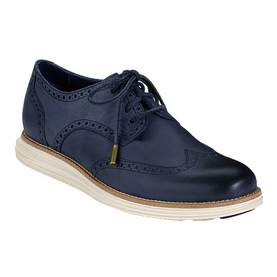 Cole Haan LunarGrand Wingtip Navy/Ivory Outlet Coupons