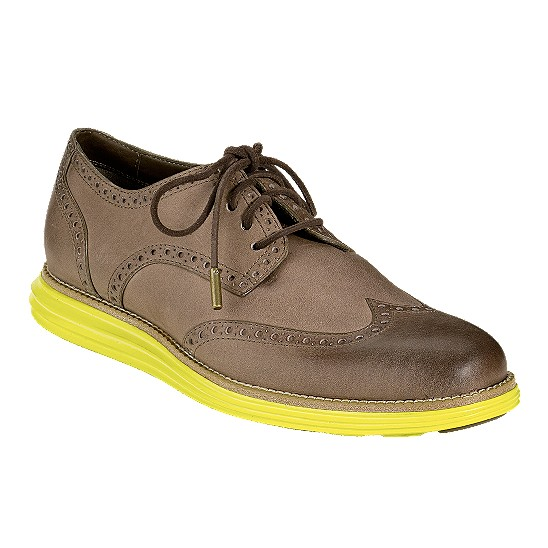 Cole Haan LunarGrand Wingtip Grey/Green Outlet Coupons
