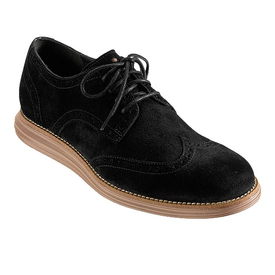 Cole Haan LunarGrand Wingtip Black Suede Outlet Coupons