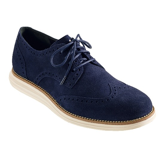 Cole Haan LunarGrand Wingtip Navy Suede Outlet Coupons