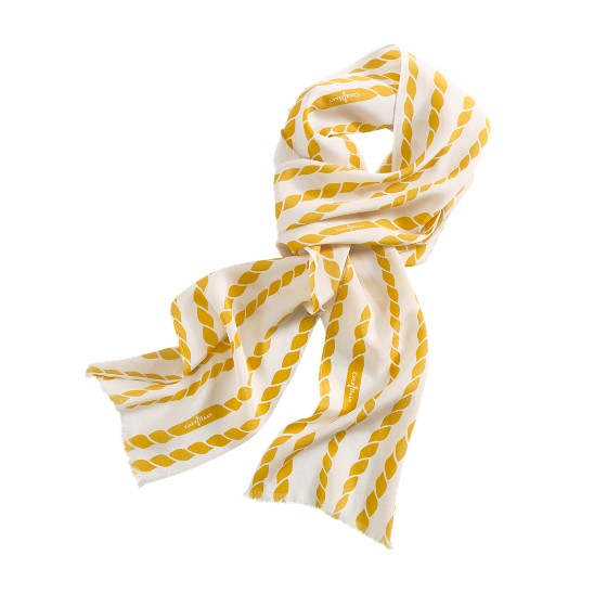 Cole Haan Uneven Rope Print Scarf White/Sunflower Outlet Coupons