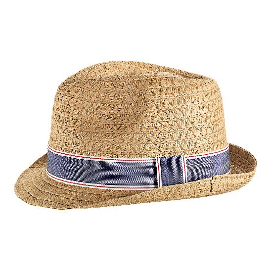 Cole Haan Straw Fedora Tan/Denim Blue Outlet Coupons