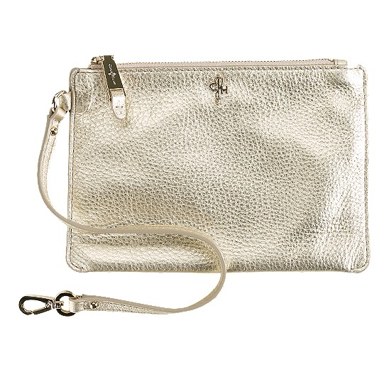 Cole Haan Jitney Medium Zip Pouch White Gold Outlet Coupons