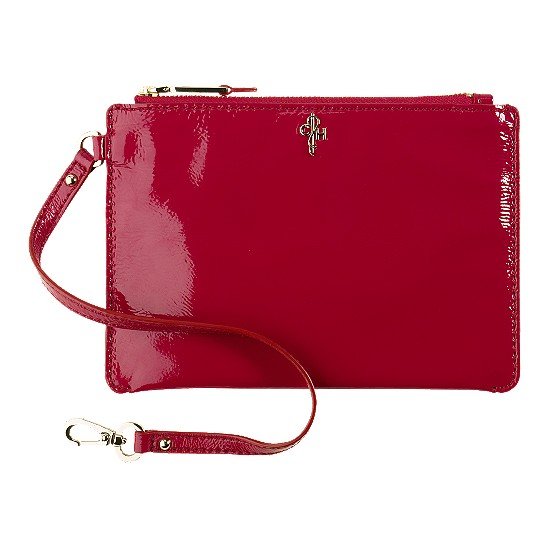 Cole Haan Jitney Medium Zip Pouch Tango Red Patent Outlet Coupons