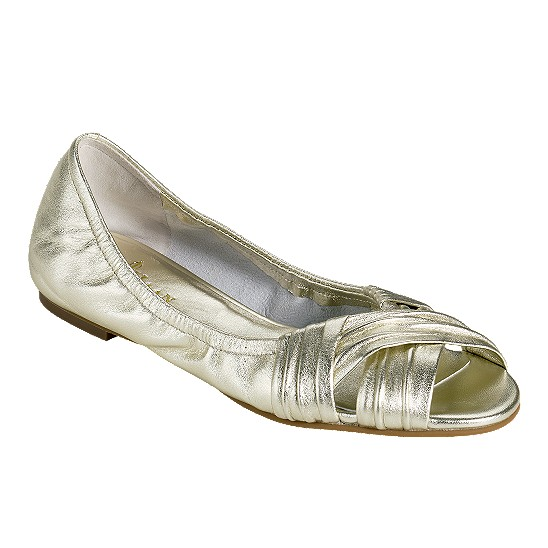 Cole Haan Air Nadine Open Toe Ballet White Gold Metallic Nappa Outlet Coupons