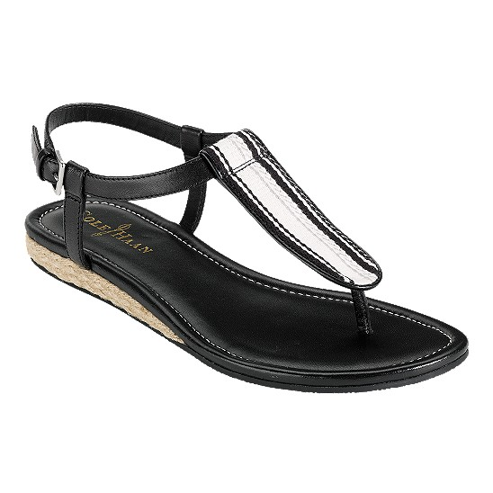 Cole Haan Molly Flat Sandal Black/Black Multi Webbing Outlet Coupons