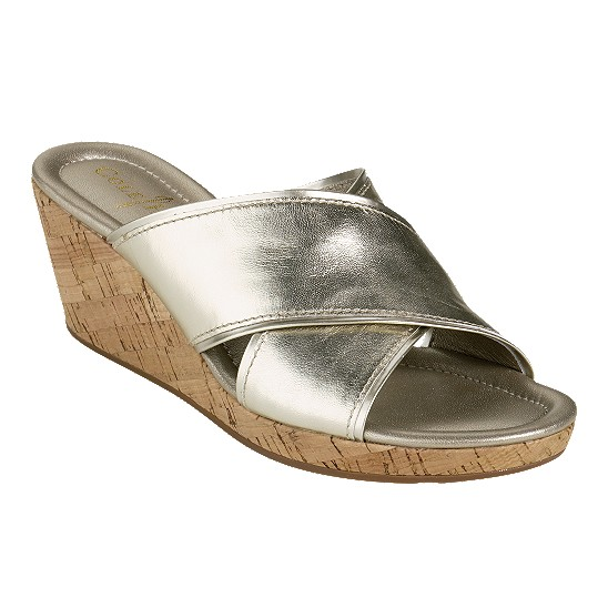 Cole Haan Air Britney Slide White Gold Metallic/Cork Outlet Coupons