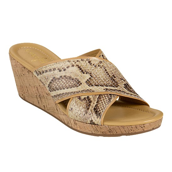 Cole Haan Air Britney Slide Cream Snake Print/Cork Outlet Coupons