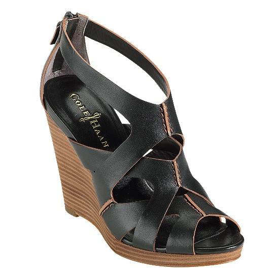 Cole Haan Air Kimry Open-Toe Wedge Black Outlet Coupons