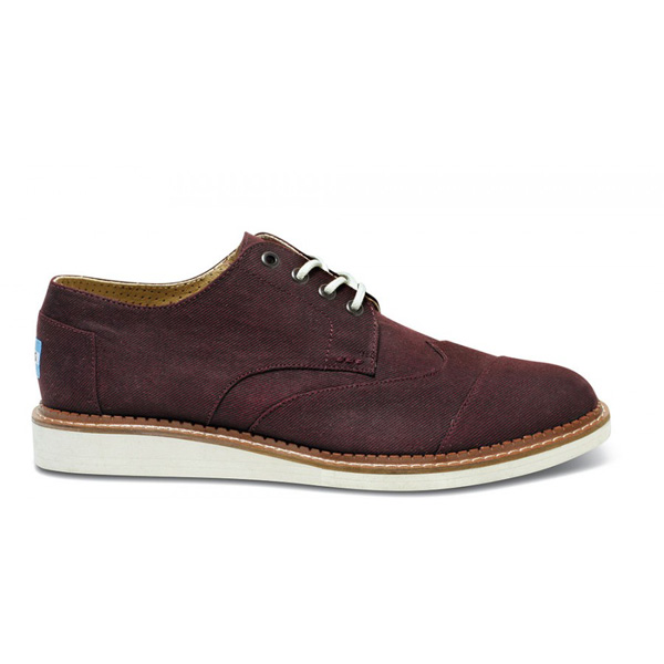 Toms Burgundy Aviator Twill Men Brogues Outlet Coupons