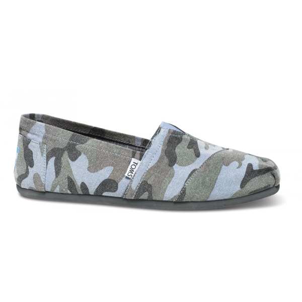 Toms Blue Camo Canvas Men Classics Outlet Coupons
