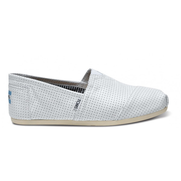 Toms Men White Perforated Leather Classics Outlet Coupons