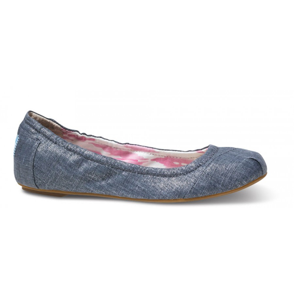 Toms Indigo Metallic Linen Ballet Flats Outlet Coupons