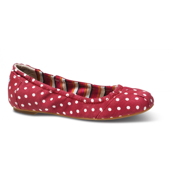 Toms Red Polka Dot Linen Ballet Flats Outlet Coupons