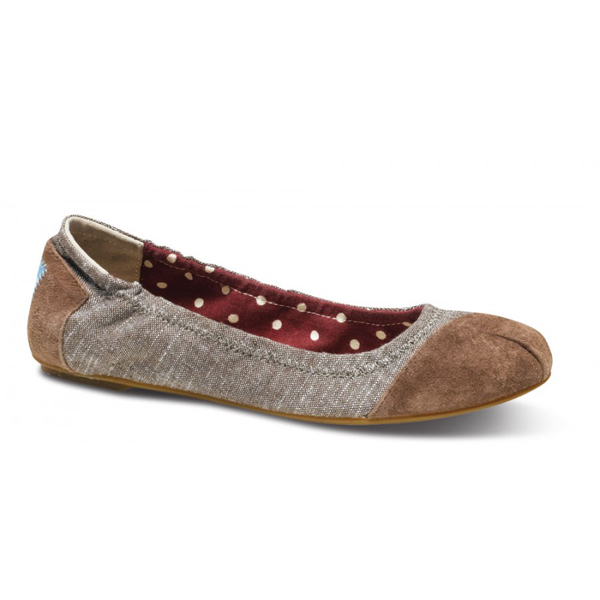 Toms Brown Chambray Ballet Flats Outlet Coupons