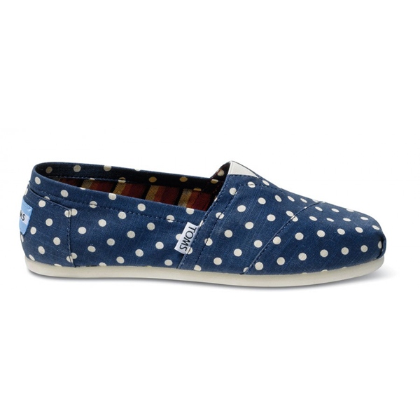Toms Navy Polka Dot Linen Women Classics Outlet Coupons
