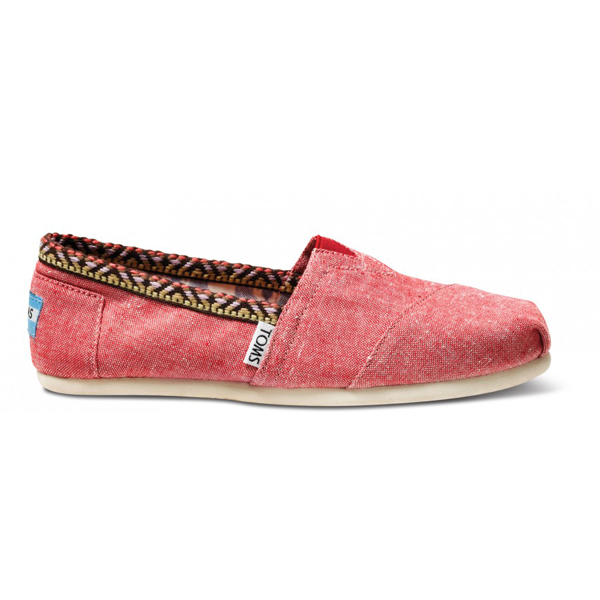 Toms Red Chambray Trim Women Classics Outlet Coupons