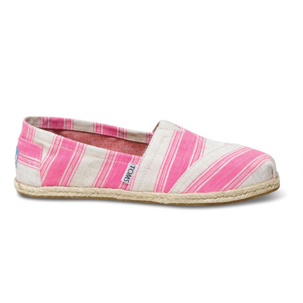 Toms Pink Umbrella Stripe Women Classics Outlet Coupons