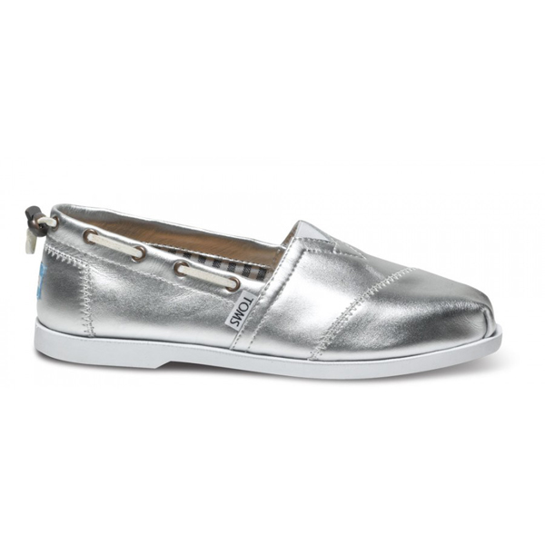 Toms Silver Leather Women Nautical Biminis Outlet Coupons