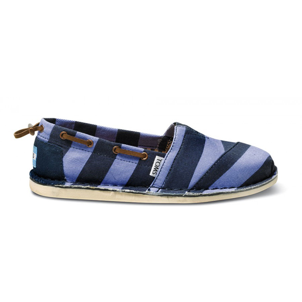Toms Blue Stripe Denim Twill Women Bimini Stitchouts Outlet Coupons