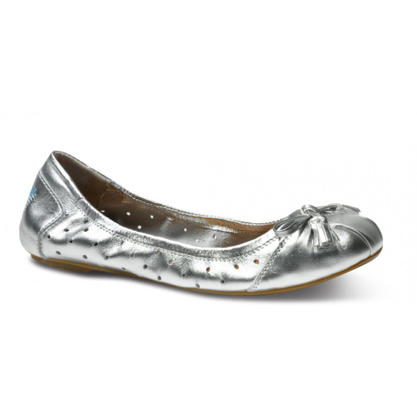 TOMS+ Perforated Metallic Silver Ballet Flats Outlet Coupons