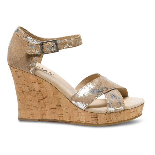 TOMS+ Sand Brushed Metal Strappy Wedges Outlet Coupons