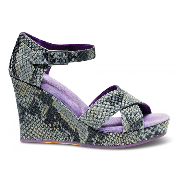 TOMS+ Grey Serpentine Women Strappy Wedges Outlet Coupons