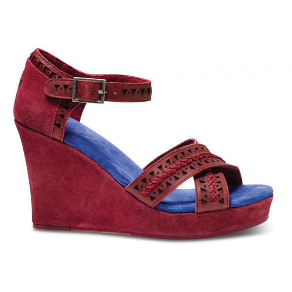 TOMS+ Oxblood Tooled Leather Women Strappy Wedges Outlet Coupons