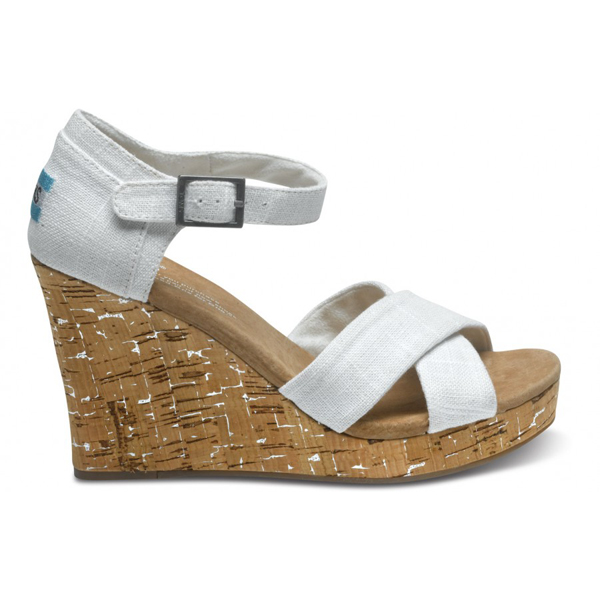 Toms Ivory Linen Women Strappy Wedges Outlet Coupons
