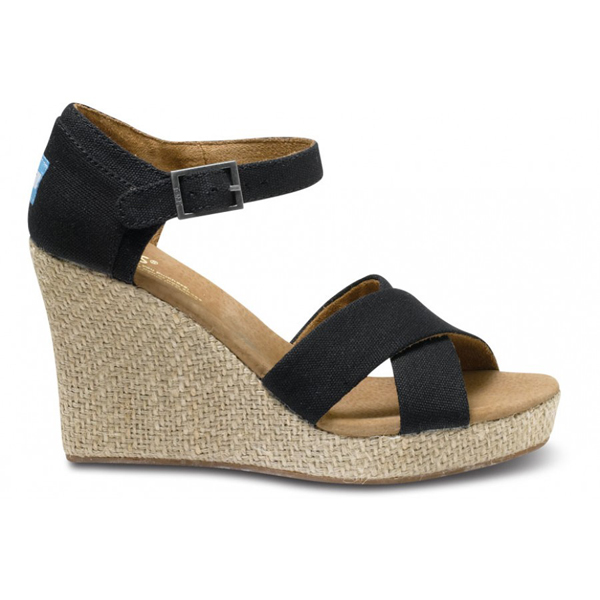 Toms Black Canvas Women Strappy Wedges Outlet Coupons