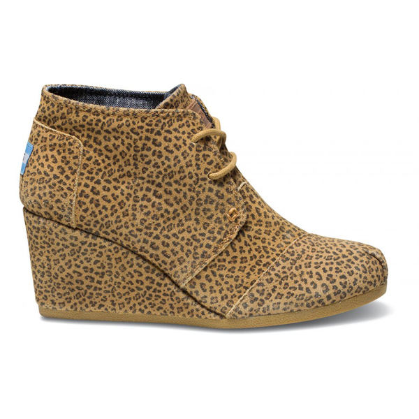 Toms Cheetah Suede Women Desert Wedges Outlet Coupons