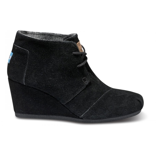 Toms Black Suede Women Desert Wedges Outlet Coupons