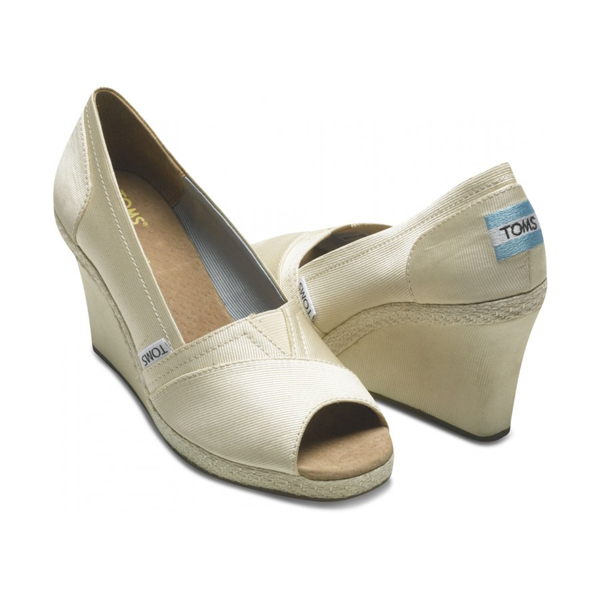 Toms Ivory Grosgrain Women Wedges Outlet Coupons