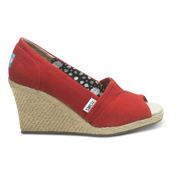 Toms Red Calypso Canvas Women Wedges Outlet Coupons