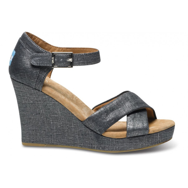 Toms Black Metallic Women Strappy Wedges Outlet Coupons
